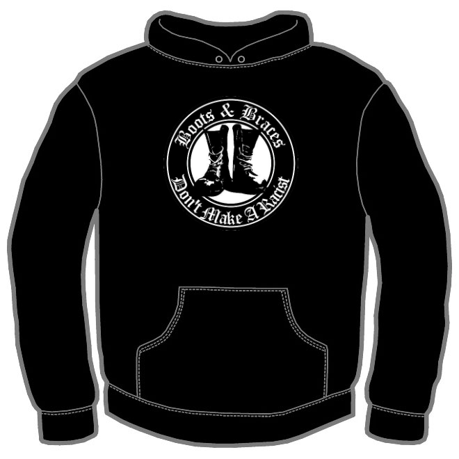 BOOT AND BRACES BLACK ROUND LOGO HOODIE 112