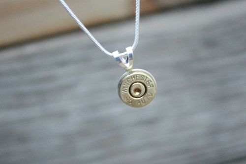 SIMPLE STUDS BULLET SLICE NECKLACE W 925 CHAIN