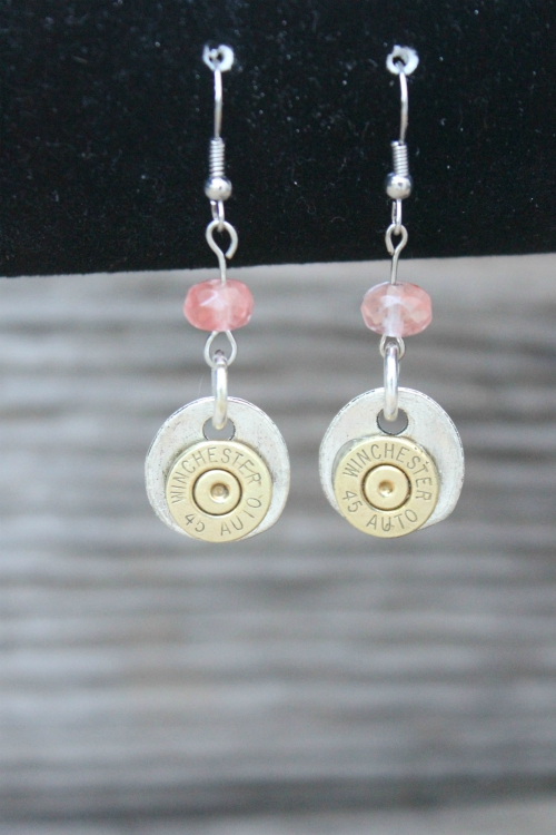 SUBTLE STUDS BULLET SLICE EARRINGS ROSE QUARTZ DANGLES
