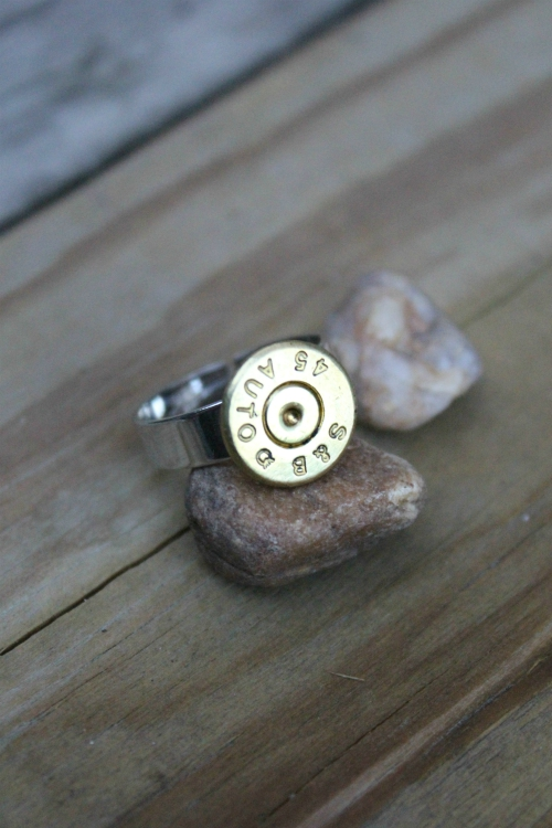 SIMPLE STUDS BULLET SLICE ADJUSTABLE RING